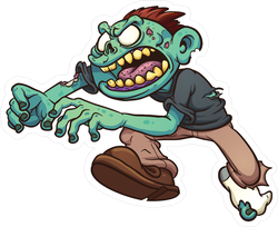 Running Zombie With One Shoe Sticker