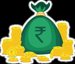 Rupee Gold Coins Money Bag Sticker