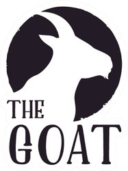 Rustic Goat Head Silhouette Text Sticker