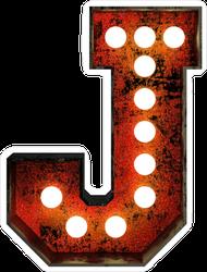 Rusty Light Bulb Font Letter J Sticker