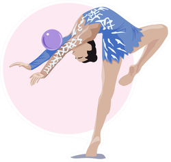 Rythmic Gymnast With A Ball In A Pose Sticker