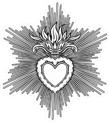 Sacred Heart Of Jesus with Sun Rays Sticker