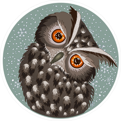 Sad Ruffled Owl Sticker