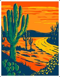 Saguaro Cactus At Dusk In Tucson Arizona Art Sticker