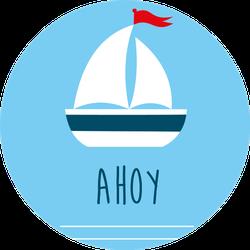 Sail Boat Card Ahoy Sticker