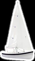 Sailboat Under The White Background Sticker