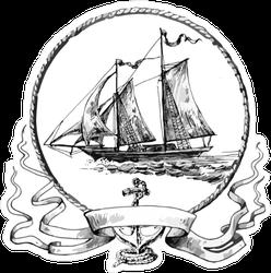 Sailboat Vintage Ribbon and Frame Sticker