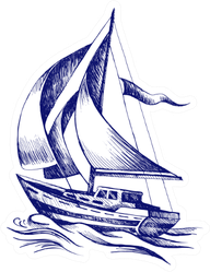 Sailing Boat With A Flag Ballpoint Pen Sketch Sticker