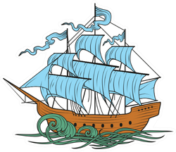 Sailing Ship Detailed Illustration Sticker
