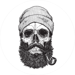 Sailor Sea Captain Hipster Skull With Pipe Sticker