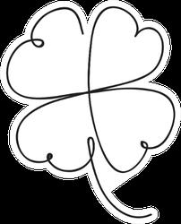 Saint Patrick Clover Leaf, Continuous Line Sticker