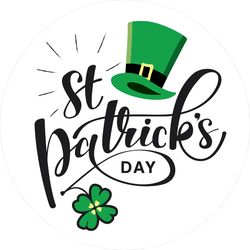 Saint Patrick Day Lettering With Clover and Hat Sticker