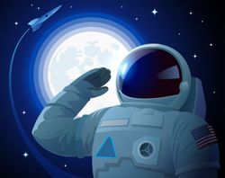 Saluting American Astronaut Sticker
