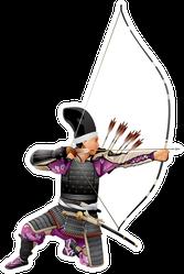 Samurai Archer, Japan Warrior Bushi With The Bow Sticker