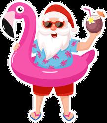 Santa Claus In Inflatable Flamingo Sticker
