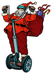Santa Claus On Segway Sticker
