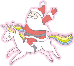 Santa Claus Riding A Unicorn Sticker