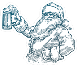Santa Claus With A Beer Sticker
