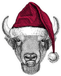 Santa Hat Bison Sticker