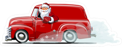 Santa In A Retro Christmas Delivery Van Sticker
