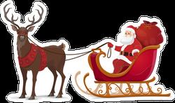 Santa In Sleigh With A Reindeer Sticker