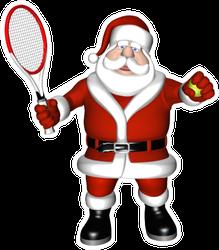 Santa Playing Tennis Sticker