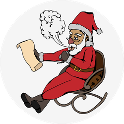 Santa With Vape In Rocking Chair Sticker