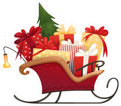 Santa's Sleigh With Christmas Gifts Sticker