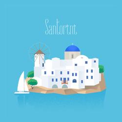 Santorini Island Sticker