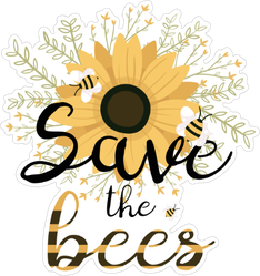 Save The Bees Flower Bouquet Sticker