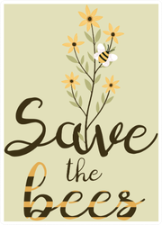Save The Bees Flower Sticker