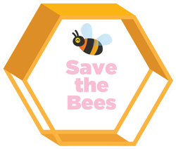 Save The Bees Hexagon Sticker