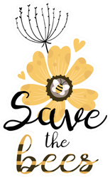 Save The Bees With Flower Sticker