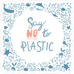 Say No To Plastic Doodle Sticker