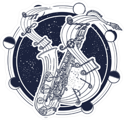 Saxophone and Moon Phases Sticker