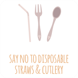 Say No To Disposable Straws and Cutlery Sticker