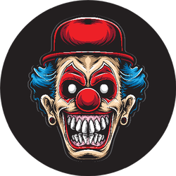 Scary Clown With Red Hat And Blue Hair Sticker