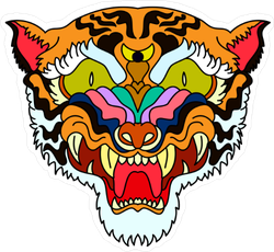 Scary Psychedelic Tiger Sticker