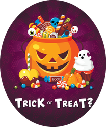 Scary Pumpkin Candy Sticker