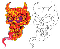 Scary Red Devil Skull On Fire With Flaming Tongues Sticker