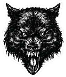 Scary Wolf Illustration Sticker