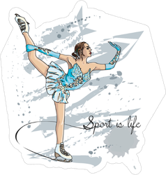 Scetch Figure Skater Sticker