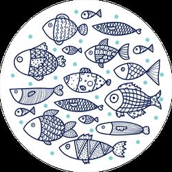 School of Fish Circle Sticker