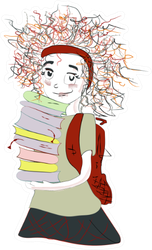 Schoolgirl With A Stack Of Books And A Backpack Sticker