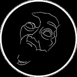 Screaming In Fear Face Line Art Sticker