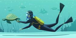 Scuba Diver And Sea Turtle Sticker