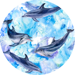 Sea Blue Seamless Pattern With Dolphins Sticker