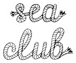 Sea Club Handwritten Lettering With Sea Boat Rope Sticker