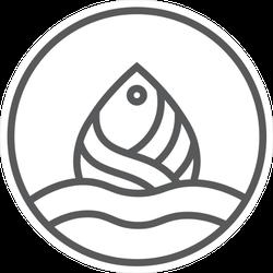 Sea Fish Line Art Sticker