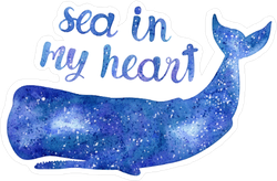 Sea in My Heart Watercolor Whale Sticker